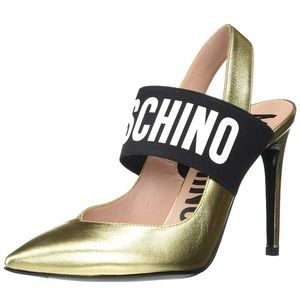 MOSCHINO WOMEN'S LOGO SLINGBACK PUMPS GOLD